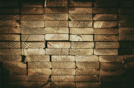 material: Wood Cut Stack. Wood Building Material. Construction Industry. Side View.