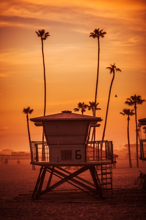 safe water: Ocean Beach Lifeguard Tower. Oceanside California Lifeguard Tower and the Beach at Sunset. United States.