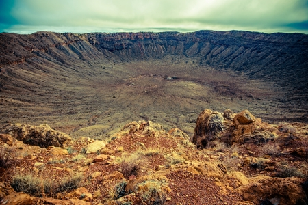 crater: Meteor Crater in Arizona. Meteorite Impact Crater Located East of Flagstaff, United States. Stock Photo