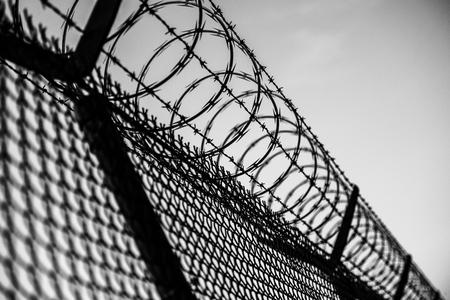 白と黒の刑務所のフェンス。有刺鉄線のフェンスのクローズ アップ。 写真素材