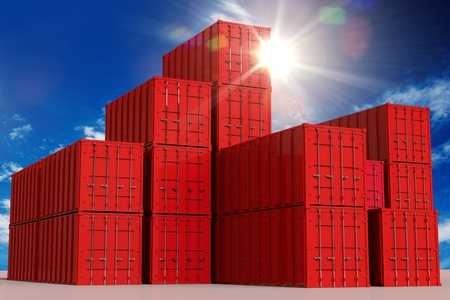 shipping container: Red Cargo Shipping Containers and the Sunny Sky. International Cargo Concept 3D Illustration. Stock Photo