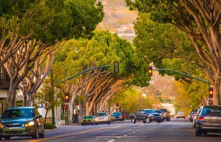 santa barbara: Downtown Santa Barbara Street. Santa Barbara, California, United States. Stock Photo