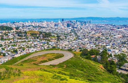 San Francisco Daylight Panorama. San Francisco Twin Peaks, California, United States.