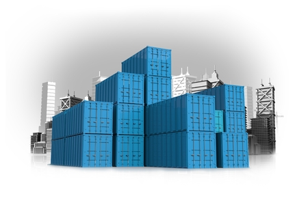 international shipping: Blue International Shipping Containers Concept Illustration with Cityscape . Cargo and Shipping Concept.