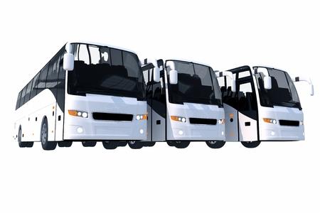 3 現代バス固体白で隔離されます。3 D イラスト。 写真素材