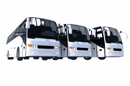 Three Modern Buses Isolated on Solid White . 3D Illustration.