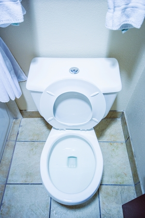 toilet bowl: Clean Toilet Bowl in a Small Bathroom Vertical Photo. Home Interior. Stock Photo