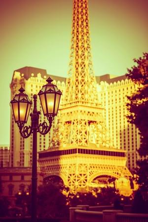 gamblers: Vintage Vegas Lantern Lighting and the Strip Buildings. Las Vegas, Nevada, United States.