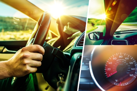 driver: Car and Driver Concept Collage. Sunny Road Car Trip. Modern Transportation Theme. Stock Photo