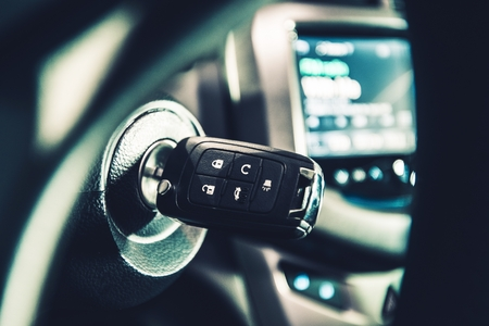 Modern Car Ignition Keys with Remote Alarm and Central Lock System. Driving Theme.