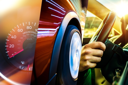 Modern Transportation Concept. Car and Driver. Driving Photo Mosaic.