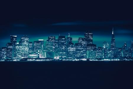 san francisco: San Francisco Blue Skyline Photo Concept. San Francisco Cityscape, California, United States.