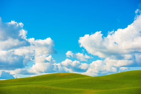 photo backdrop: Scenic Meadow Photo Background. Green Beautiful Meadow Buttes and the Cloudy Blue Sky Photo Backdrop.