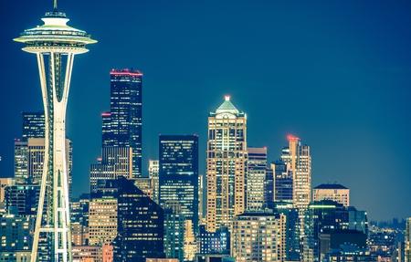 space needle: Seattle Architecture at Night. Seattle Skyline at Night. Washington, United States.