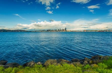 puget: Seattle Skyline Panorama and Puget Sound. Seattle, Washington, United States. Stock Photo