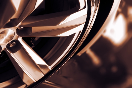 Alloy Car Wheel Closeup. Modern Car Wheel.