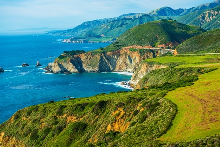 1: California Coastal Highway 1. Scenic Route. Pacific Ocean Shore in California, United States. Stock Photo