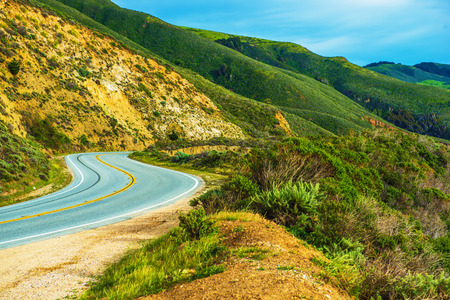 scenic drive: California Countryside Highway. California Scenic Drive. Stock Photo
