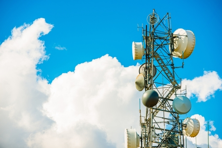 Modern Cellular Antenna Tower. Mobile Carrier Tower. Wireless Technology