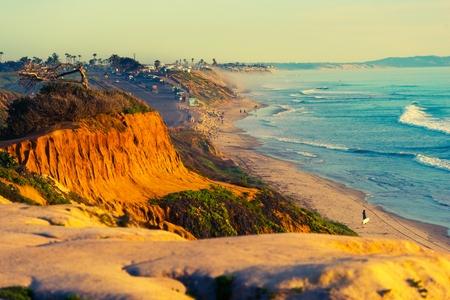beach front: Encinitas Beach Ocean Shore in Southern California, United States. Stock Photo
