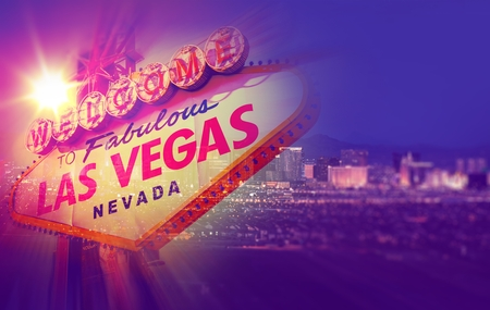 Las Vegas Concept Photo Collage. One Night in Vegas with Vegas Welcome Sign and Strip Panorama.