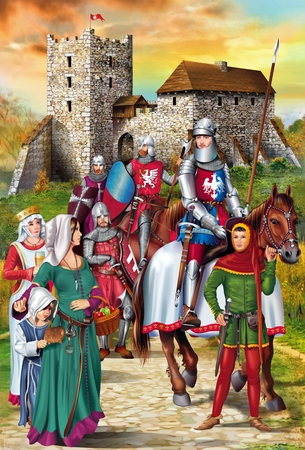 knight: Polish Medieval Knights with Wives and the Medieval Castle Illustration.