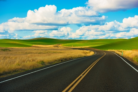 washington landscape: Scenic Road Drive. Eastern Washington State Scenic Landscape. United States. Stock Photo