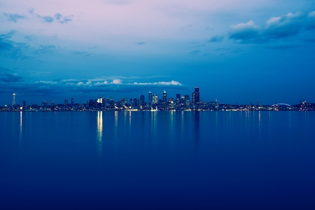 Seattle Skyline Evening Panorama and the Bay. Seattle, Washington, United States. Stock Photo