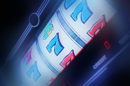 Slot Machine Spin Concept Photo. Slot Machine Closeup. Casino Theme. Foto de archivo