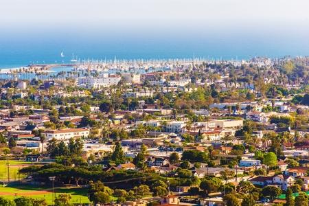 santa barbara: Sunny Santa Barbara California Cityscape Panorama. City of Santa Barbara, Marina and Pacific Ocean.