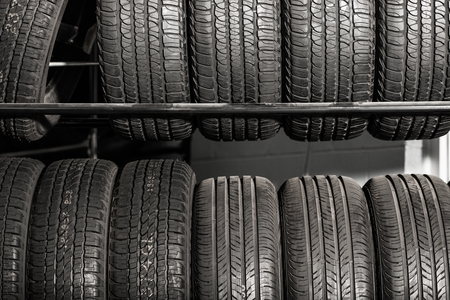 tire: Large Metal Tires Rack. Modern Car Tire Service and Sale.