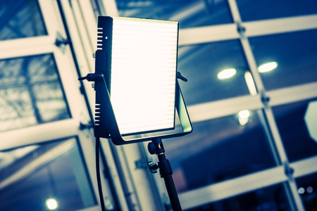 LED Panel Modern Videography Lighting System. Continuous Lighting