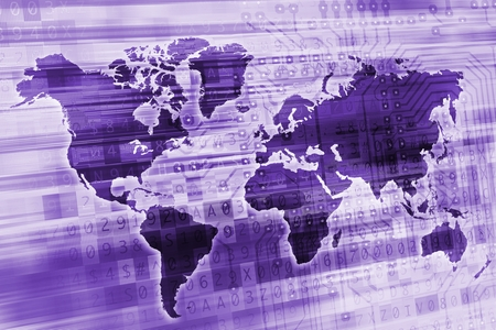 numbers abstract: Purple Digital Global Concept Illustration. World Map with Digital Elements. Stock Photo