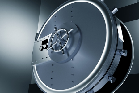 bank deposit: Huge Safe Bank Vault. Shiny Metallic Opened Bank Vault 3D Illustration. Stock Photo