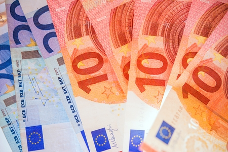 european money: Euro Bills. European Union Currency. Banking Theme.