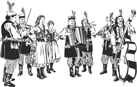 pole dancer: Polish Traditional Folk Band Krakowiaki as Black and White Vector Style Illustration Isolated on White. Raster Image. Stock Photo