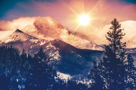 december sunrise: Colorado Mountains Vista in Abstract Color Grading. Rocky Mountain.