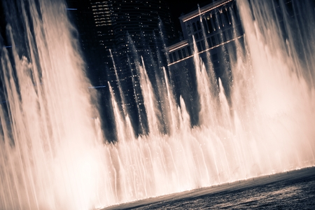 Blowing Las Vegas Fountains at Night. Las Vegas, Nevada, United States.