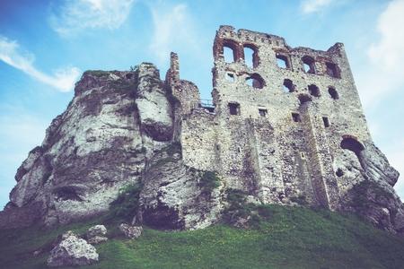 ogrodzieniec: Medieval Polish Castle Ruines. Hunted Ogrodzieniec Castle by Mysterious Black Dog of Ogrodzieniec. Ogrodzieniec, Poland, Europe. Editorial