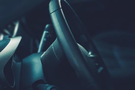 Car Steering Wheel Closeup Photo. Car Interior. Archivio Fotografico