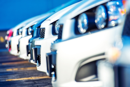 row: Dealer Cars For Sale. Car Selling Market. Cars Marketplace Stock Photo