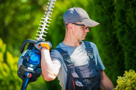 trimmer: Garden Trimming Works. Professional Gardener in His 30s with Pro Hedge Trimmer Taking Care of the Garden.