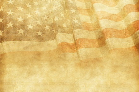 sepia.: Vintage American Background with Canvas American Flag. Stock Photo