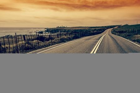 coastal: Scenic California Coastal Road. California Car Trip. Winding Road.