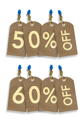 50 to 60: 50% and 60% Off Paper Discount Tags Isolated on White.