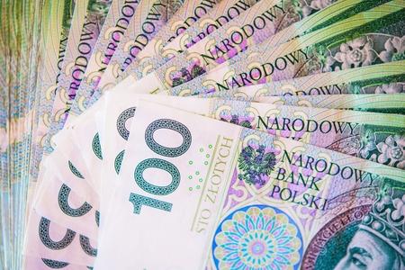 zloty: One Hundred Polish Zloty Bills Closeup Photo. Polish Currency.
