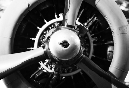 Vintage Aircraft Propeller with Radial Engine. World War II Combat Airplane Closeup.