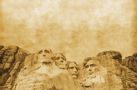 theodore roosevelt: American Presidents Concept Vintage Background. United States Presidents. Mount Rushmore Memorial Vintage Concept.