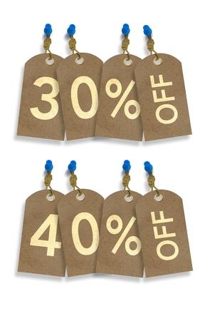 오래 된 종이 할인 태그입니다. 30 % 및 40 % 할인 화이트 태그 리베이트.