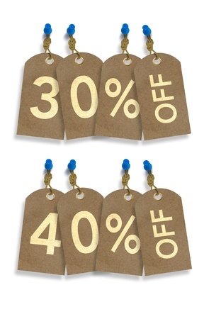 rebate: Old Paper Discount Tags. 30% and 40% OFF Rebate Tag Isolated on White.